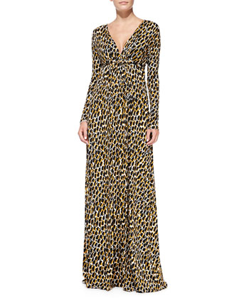 Long-Sleeve Printed Jersey Maxi Dress, Women's