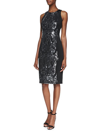 Sequined Panel Cocktail Dress, Black/Silver