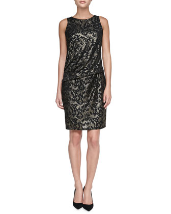 Sequined Panel Cocktail Dress, Black/Gold