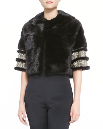 Mink Fur Bolero Jacket with Beaded Cuffs