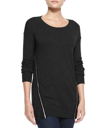 Susie Zip-Body Cashmere Sweater