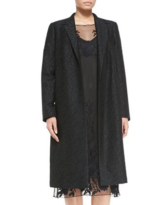 Teodora Jacquard Long Coat & Dogma Floral Lace Dress, Women's