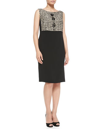 Diario Tweed-Detail Crepe Dress, Women's