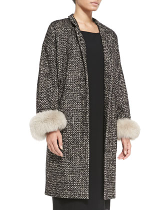 Talia Fur-Cuffed Tweed Coat, Women's