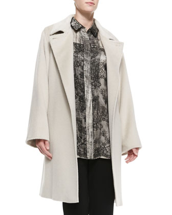 Tallero Wool-Alpaca Long-Sleeve Coat, Women's