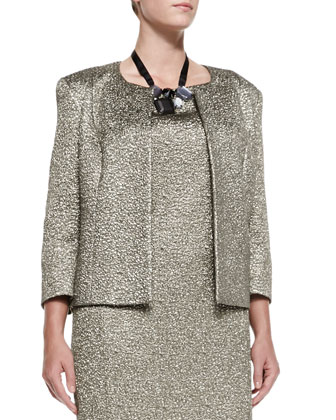 Carrozza Jacquard Metallic Short Jacket, Women's