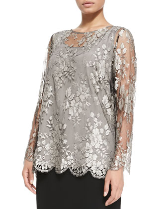Favoloso Lace-Overlay Blouse, Women's