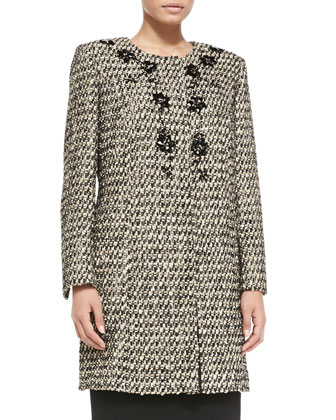 Nepal Embellished Tweed Coat, Women's