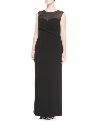 Sheer-Detail Long Gown, Women's