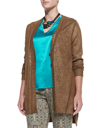 Manarola Metallic Knit Cardigan, Bea Stretch-Silk Blouse, Ricco Printed ...