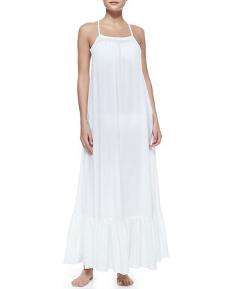 Mermaid's Voile Square-Neck Maxi Dress