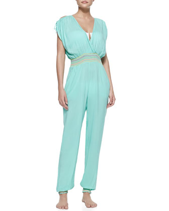 Curacao Voile Embroidered Coverup Jumpsuit