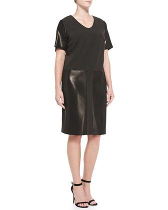 Glazed-Detail Short-Sleeve Dress, Women's