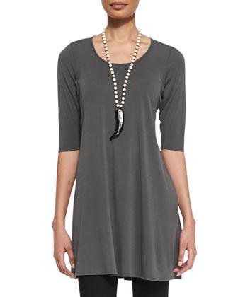 Half-Sleeve Silk Jersey Tunic & Stretchy Jean Leggings, Petite
