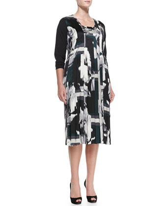 Dentro Printed Long-Sleeve Dress, Women's