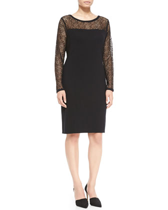 Gio Wool Lace-Detail Long-Sleeve Dress, Women's