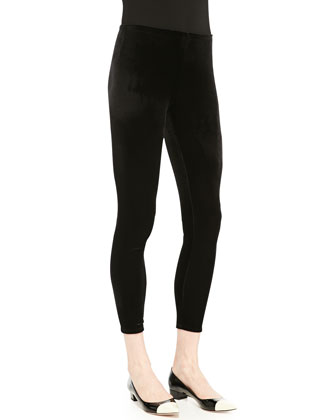 Merino Jersey Layering Dress & Stretch Velvet Ankle Leggings, Women's