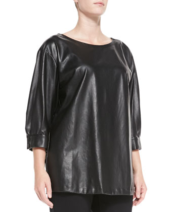 Faretra Faux-Leather Blouse, Women's