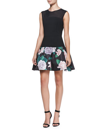 Sleeveless Floral Fit-and-Flare Cocktail Dress