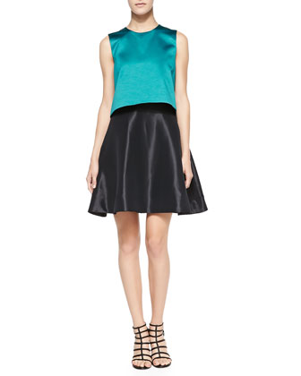 Sleeveless Contrast-Bodice Cocktail Dress