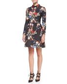 Long-Sleeve Floral-Print Cocktail Dress