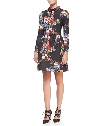 Long-Sleeve Floral-Print Cocktail Dress