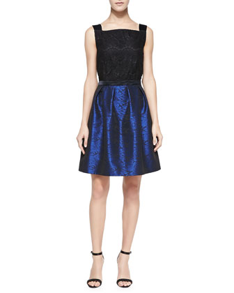 Sleeveless Lace-Bodice Cocktail Dress