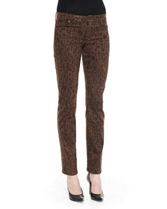 Faith Straight-Leg Leopard-Print Jeans