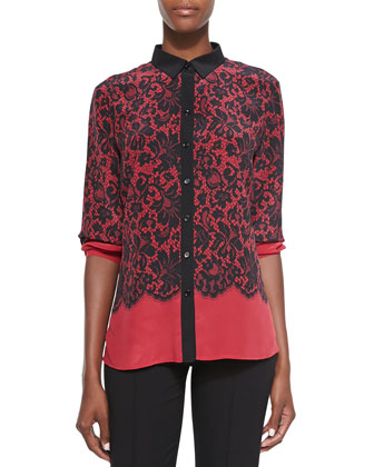 Lace-Print Silk Blouse, Red