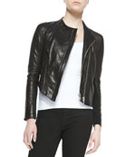 Blistered Cropped Leather Jacket