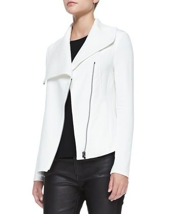 Villous Front-Zip Crepe Jacket & Leather-Front Ponte Skinny Pants