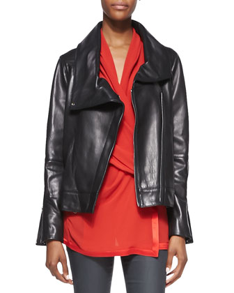 Shawl-Collar Leather Jacket