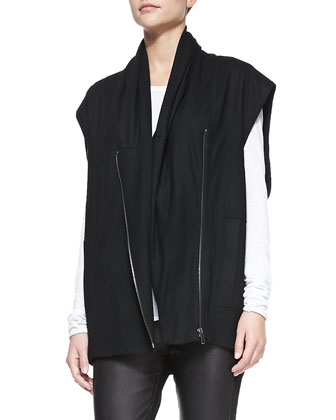 Sonar Wool Front-Zip Vest, Kinetic Jersey Long-Sleeve Top & Leather-Front ...