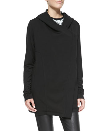 Villous Oversize Hooded Knit Cardigan, Black