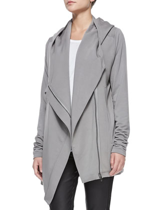 Villous Oversize Hooded Cardigan, Kinetic Jersey Long-Sleeve Top & ...