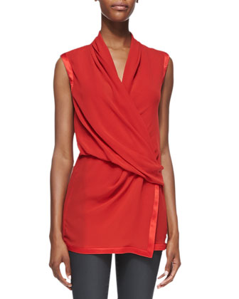 Shawl-Collar Leather Jacket, Pebbled Satin-Trim Draped Top & Coated Stretch ...