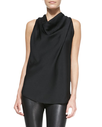 Gravel Drape-Neck Silk Top