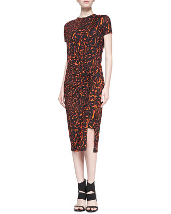 Strata Printed Draped Jersey Dress