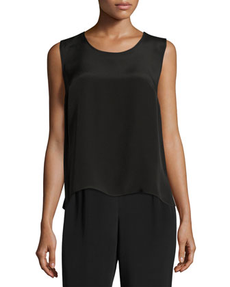 Silk Crepe Tank, Black, Women's