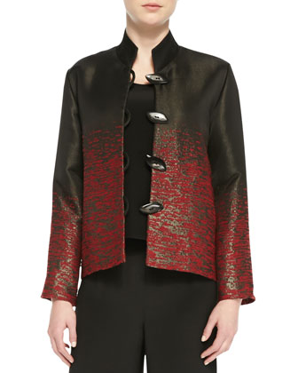 Shimmering Stitch Jacquard Jacket, Silk Tank & Crepe Wide-Leg Pants, Women's