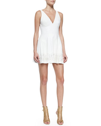 Laser-cut Leather Dress, Cream