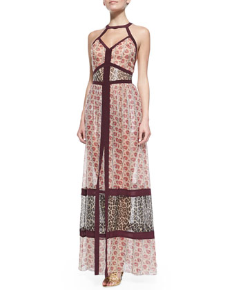 Banded Halter Maxi Dress, Raspberry/Multi