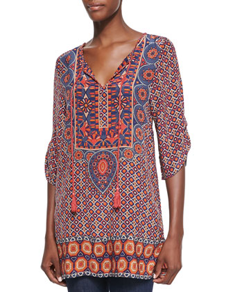 Camryn Silk Printed Long Tunic, Navy, Women's