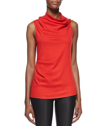 Sonar-Knit Draped Sleeveless Top