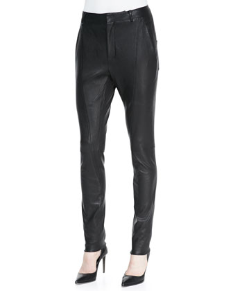 Seamed Slim Leather Moto Pants