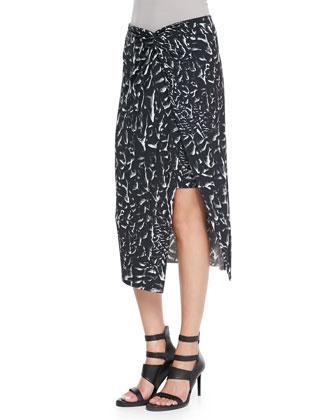 Morse Leather-Neck Crepe Top & Strata-Print Asymmetric Wrap Midi Skirt