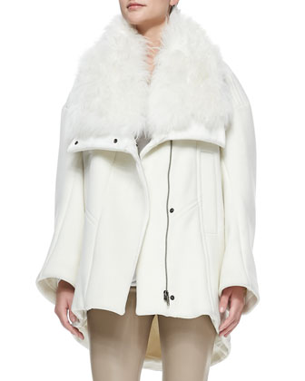 Inclusion Fur-Collar Felt Coat