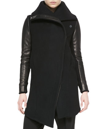 Inclusion Leather-Sleeve Felt Jacket
