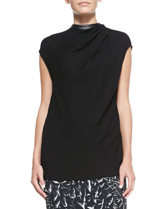 Morse Leather-Neck Crepe Top & Strata-Print Asymmetric Wrap Midi Skirt