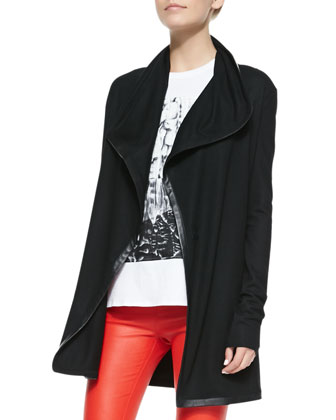 Leather-Trim Long Wool Cardigan